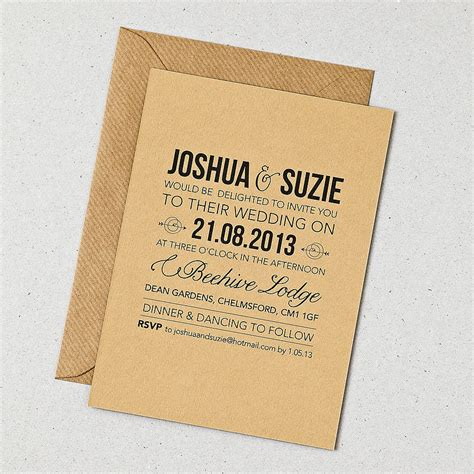 wedding invites rustic style wedding invitation by doodlelove notonthehighstreet
