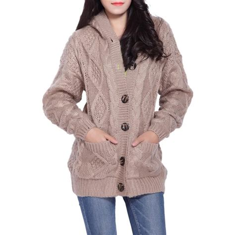 cable knit hooded cardigan for twinkledeals