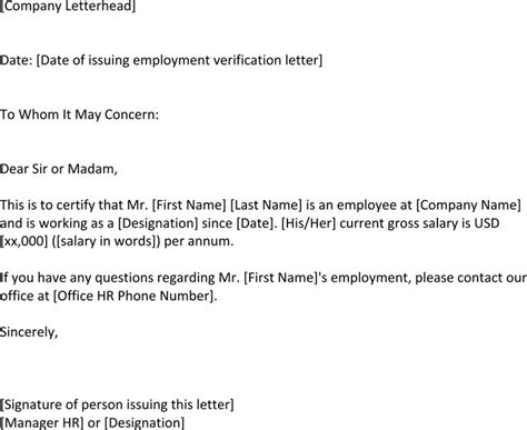 Employment Verification Letter Format For Us Visa Employment Verification Letter Template Free Premium Templates Forms Sles For