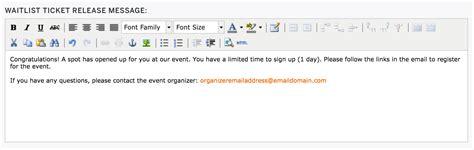 Waitlist Response Letter Exle How To Set Up An Event Waitlist Eventbrite Help Centre