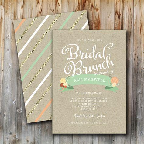 printable bridal shower brunch invitations bridal brunch invitation vintage glitter floral