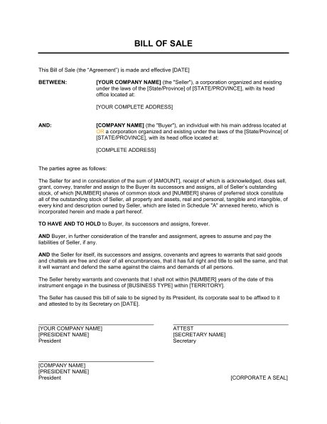 Land Sale Sle Letter Bill Of Sale For Corporations Template Sle Form Biztree