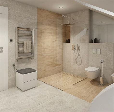 Fliese Wellenoptik ebenerdige dusche in 55 attraktiven modernen badezimmern