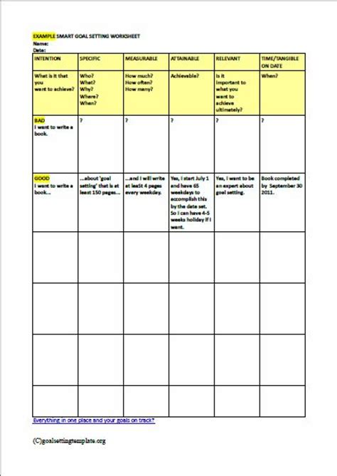 goal setting template best 25 goal setting template ideas on goal