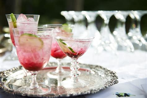 summer wedding signature drinks muddled blueberry gin and