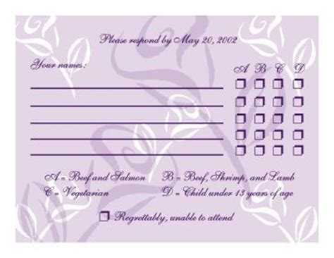 wedding menu choice template rsvp with menu options exle http www