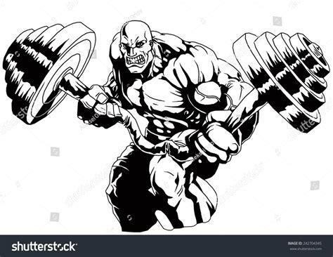 Outline Of A Bodybuilder by Muscular Bald Bodybuilder Flex Weightillustrationblack Whitedrawingoutline Stock Illustration