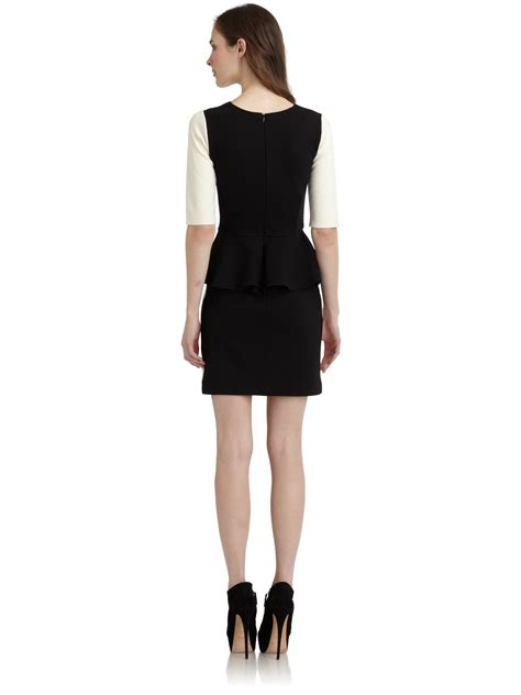 47429 Dress Hodie Avenue lyst saks fifth avenue peplumback colorblock dress in black
