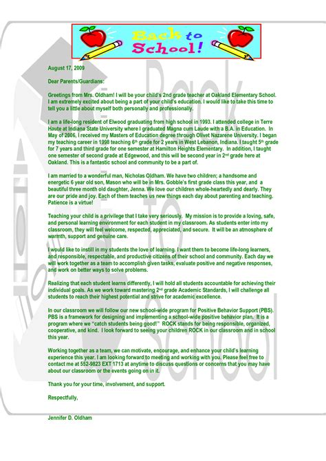 Introduction Letter To Parents Exles Of Introduction Letters For Student Teachers Introduction Letter Student Teaching And