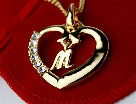 Initial M initial necklace letter m 18k yellow gold plated