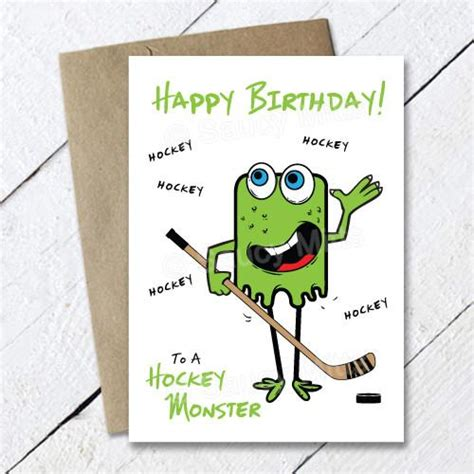 printable birthday cards hockey theme kids hockey monster birthday card saucy mitts hockey