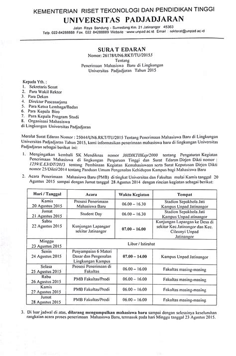 surat edaran rektor tentang penerimaan mahasiswa baru