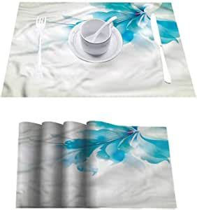 indoor outdoor square placemat abstract blue ombre