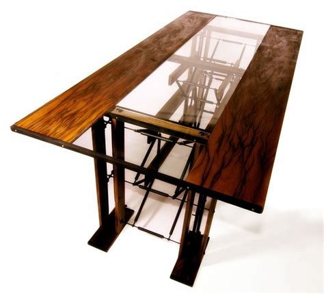 Custom Dining Table Infused With Wood Metal Tubing Custom Glass Dining Table
