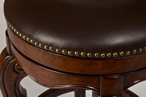 burrell swivel counter stool brown cherry amp leather