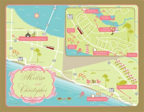 where is watercolor florida on a map as seen on style me pretty custom wedding map santa rosa