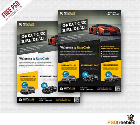 cars rental flyer free psd template psdfreebies com
