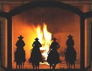 western fireplace screens cowboy riders custom trifold fireplace screen