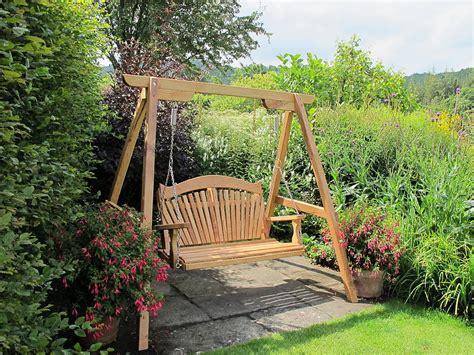 oak garden swing tranquillity oak fan back swing seat by sitting