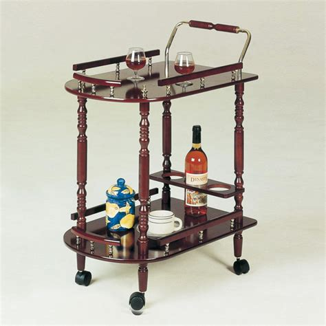 Kitchen Serving Cart by Wood Traditional Rolling Buffet Serving Cart With Brass