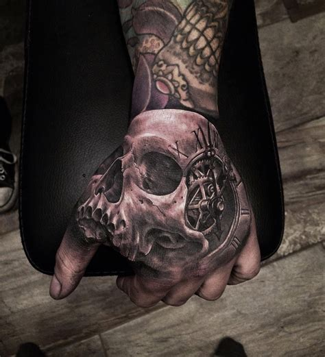 best hand tattoos skull clock best ideas designs