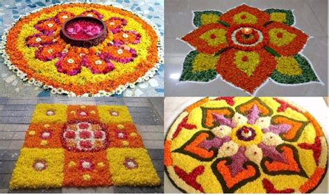 flower pattern rangoli design simple rangoli designs for diwali 2017 with marigold