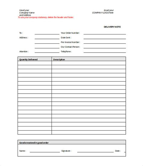 delivery note template 20 free word pdf format