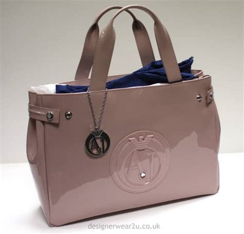 Large Patent Shopper Bag From Accessorize by Armani Armani Pink Patent Tote