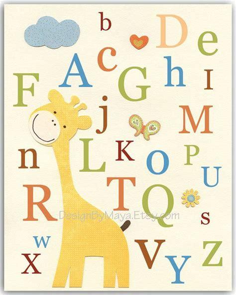 printable alphabet letters nursery nursery art kids print baby room print jungle animals