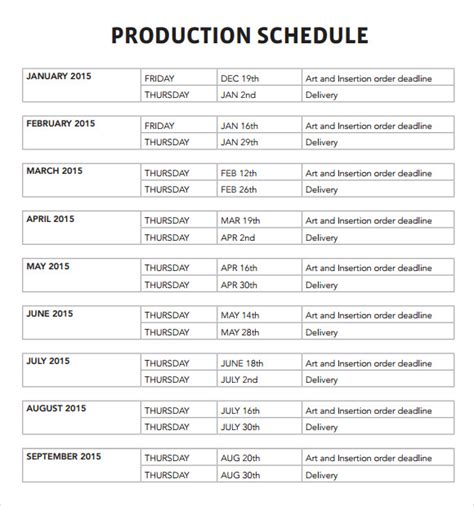 Sample Production Schedule Template   6  Documents in PDF