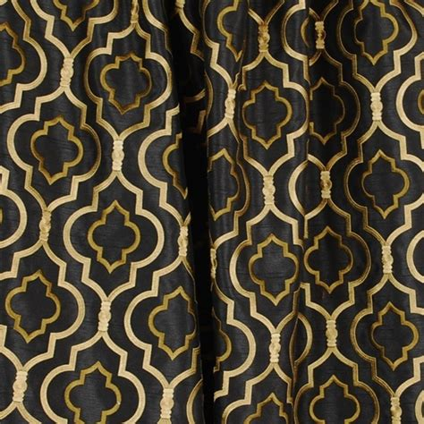 Fabric For Drapes And Upholstery by Agnes Black Gold Trellis Fabric Traditional
