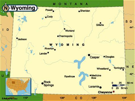 us map showing wyoming wyoming map
