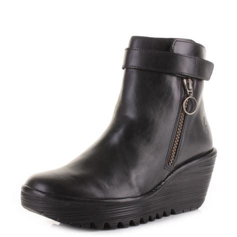 womens fly yava black wedge heel heeled ankle boots