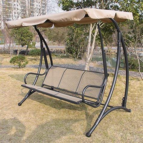 Anifox Outdoor 3 Person Canopy Swing Glider Hammock Chair Outdoor Furniture Swings And Gliders