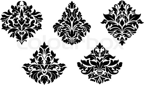 design elements style vintage floral design elements in damask style vector
