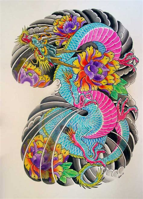 coloured dragon tattoo designs awesome colored japanese design