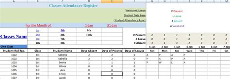 monthly school attendance report template excel   project management plan templates