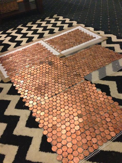 hometalk make a floor out of real pennies