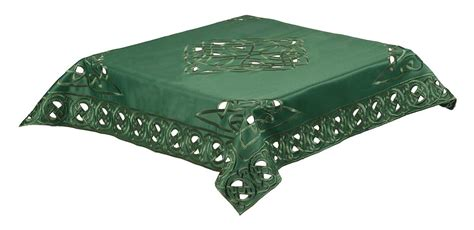 Green Table Cloth by Celtic Knot Embroidered Tablecloth Green 85x85cms 34x34