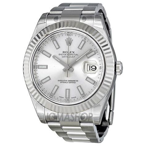 Rolex Datejust II Silver Dial White Gold Fluted Bezel Men's Watch 116334SSO   Rolex   Shop