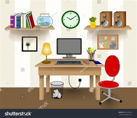 Computer Desk Decor Computer Desk Decor Colorful Retro Creative Office Work Space With Pc Wall With Beige And