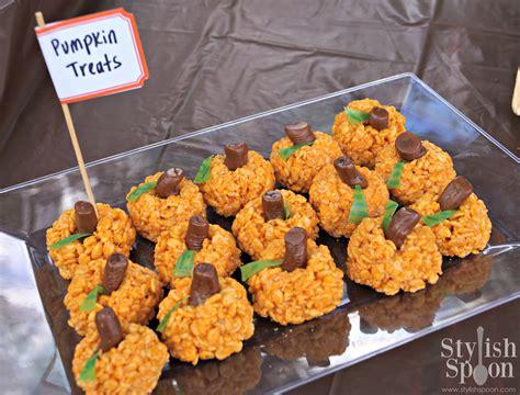 treat recipes pumpkin recipe pumpkin rice krispie treats snacks stylish spoon