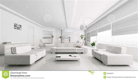 Sherwin Williams Casa Blanca interior of modern white living room rendering stock image