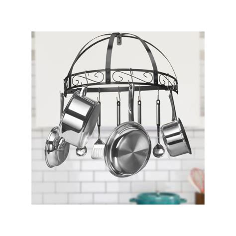 Semi Circle Pot Rack new wrought iron kitchen pot rack black semi circle hanging wall mounted ebay