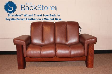 low back leather sofa stressless wizard 2 seat low back loveseat royalin brown