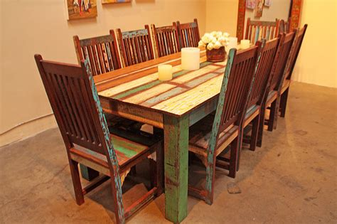 Reclaimed Wood Dining Room Furniture Reclaimed Wood Dining Set Eclectic Dining Sets Los Angeles By Tara Design