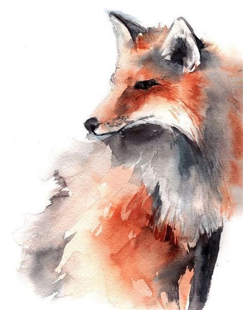 water color animals fox watercolor animal print from original watercolour