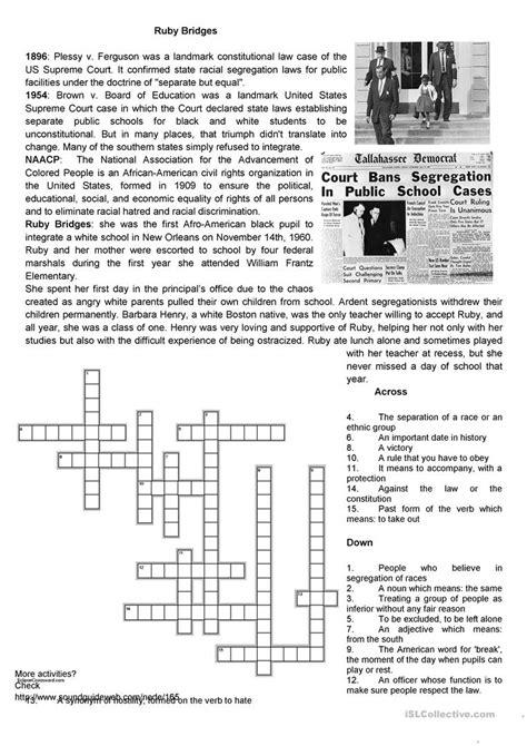 Ruby Bridges Worksheets by Civil Rights Ruby Bridges Worksheet Free Esl