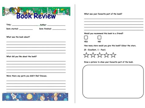 Book Review Pro Forma By Bonzoginn Teaching Resources Tes A Children S Book Template