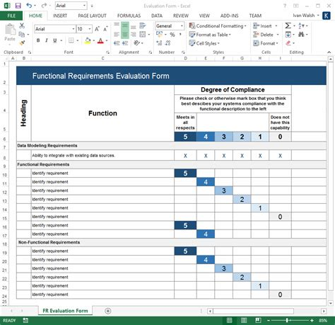 Project Requirements Template Excel by Functional Requirements Specification Ms Word Excel
